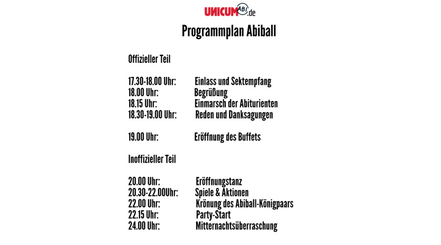 Timetable Abiball